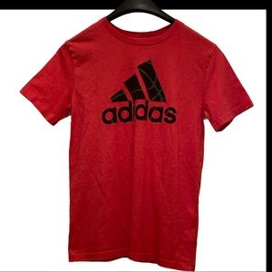 Adidas Boys Size 10-12 Red Short Sleeved T-Shirt